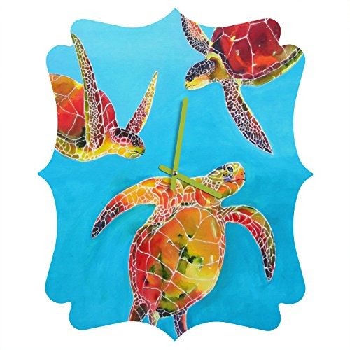 Deny Designs  Clara Nilles, Tie Dye Sea Turtles, Quatrefoil Clock, Medium by Deny Designs