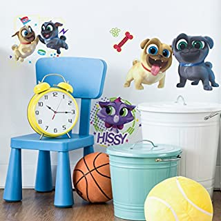 """RoomMates Puppy Dog Pals Peel And Stick Wall Decals, 9"""" x 17.375"""", blue, brown, red, yellow - RMK3776SCS"""