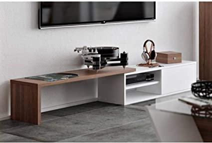 Tema Home Move - Mueble de TV Modular con 1 Puerta corredera, Color Blanco y Nogal: Amazon.es: Hogar