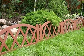 Woolux Garden Zierzaun Zaun Blumenbeeteinfassung Braun Mit Holzoptik