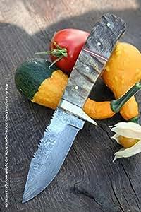 Damasco Cuchillo eruyagi con cuerno de cabra Mango mediano ...