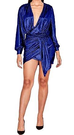 443fcb617e76 Nicelly Women s Solid Deep V-Neck Long Sleeve Bronzing Sexy Club Dresses  Dark Blue XS
