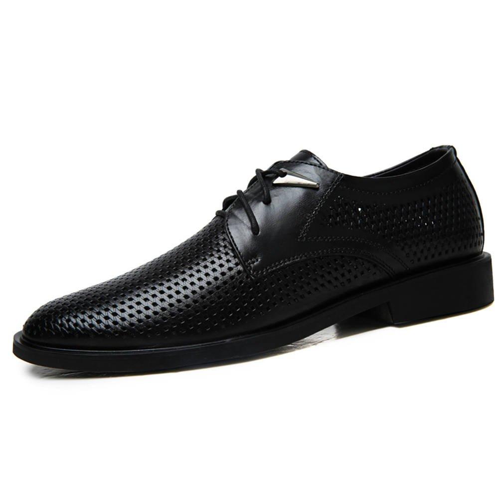 Ailishabroy Leder Schuhe Lace Herren Schwarz Sommer Atmungsaktiv Lace Schuhe  up Oxford Geschäft Herren Schuhe Schwarz b4a4ea 190374c460