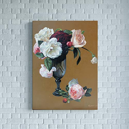 Flowers Floral Vase Life Still (Flower vase painting Flowers oil picture Still life roses in vase Kitchen painting oil on canvas Floral picture Bouquet painting Woman mom wife gift)