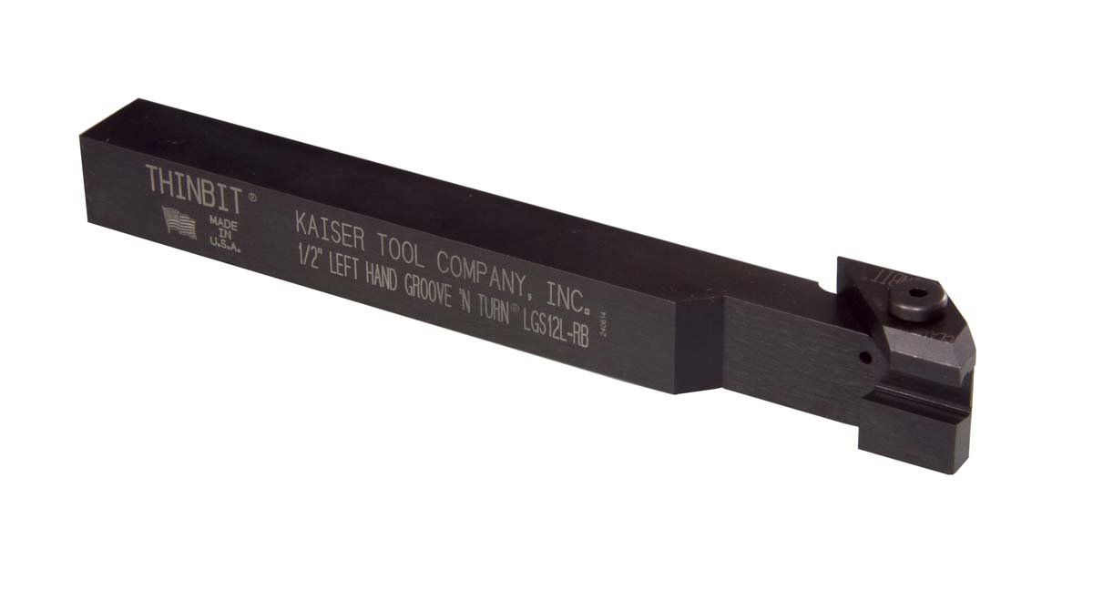 LGS12L 1/2'', Left Hand orientation, Straight, GROOVE 'N TURN toolholder. Use with grooving, face grooving, threading and parting inserts. THINBIT made in the USA