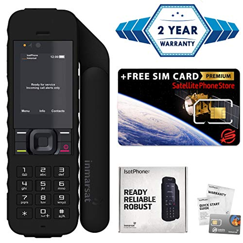 - 2019 Unlocked IsatPhone 2.1 Satellite Phone - Voice, SMS, GPS Tracking, SOS Global Coverage - Water Resistant - SIM Card Included (No Airtime) - Prepaid and Monthly Plans Available