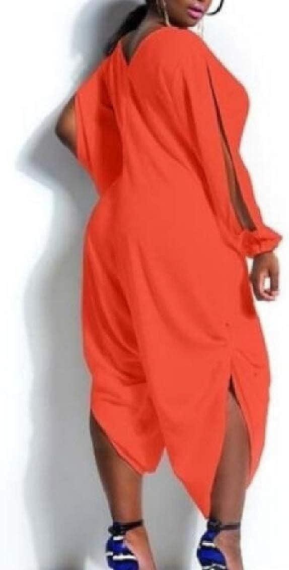 SHOWNO Women Casual Split Sleeve V Neck Sport Plus Size Romper Jumpsuits