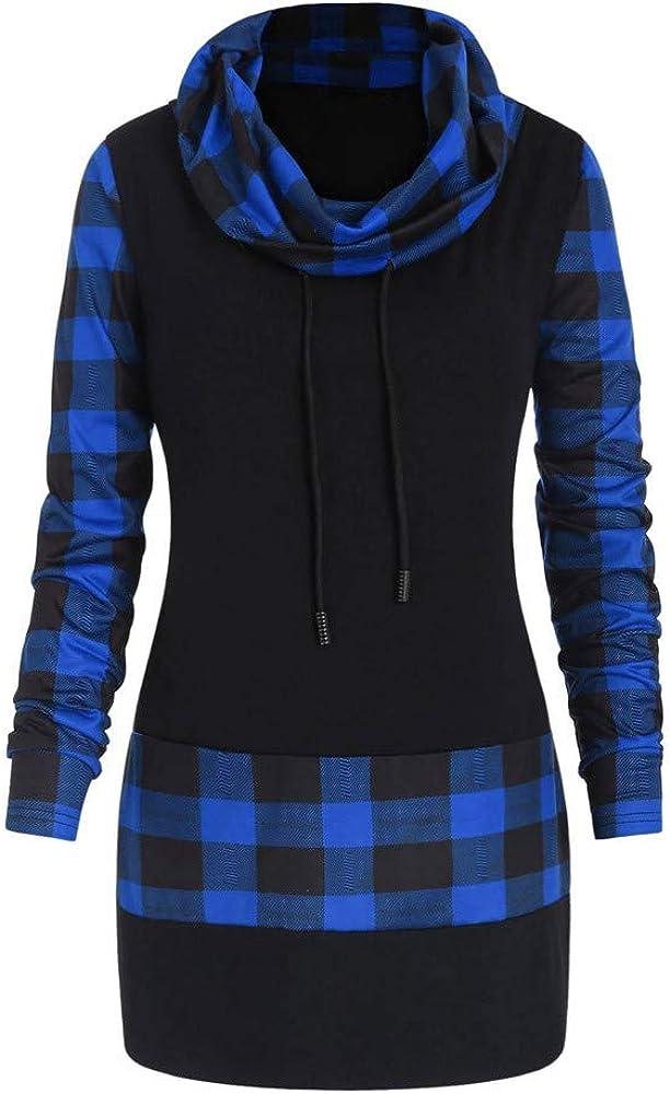 MEIbax Casual Moda Sudaderas para Mujer Elegante Cuello de la Bufanda otoño Invierno a Cuadros Estampada Estampado Manga Larga de botón Camisa Abrigo de botón Pullover Tops Blusa Outwear: Amazon.es: Ropa y