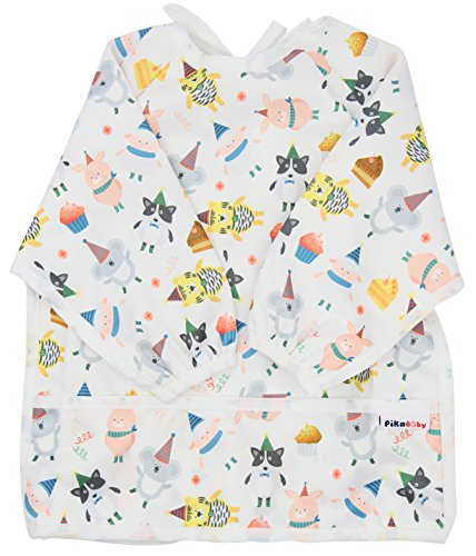 Pikababy Long Sleeved Bib Waterproof Bibs with Pocket - 6 to 24 Months Baby Girl and boy Colors (Birthday)