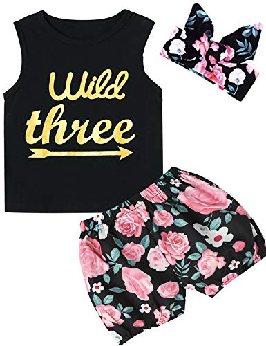 Truly One 3PCS Outfit Short Set Baby Girls Floral Tops + Pants + Headband (Black-Three, 3T)