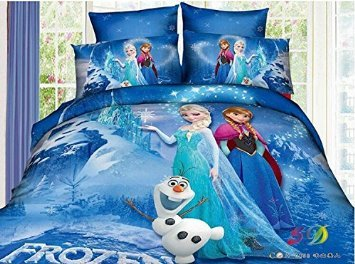 3d Cartoon Bedding Sets Princess Elsa & Anna (Queen, 3)
