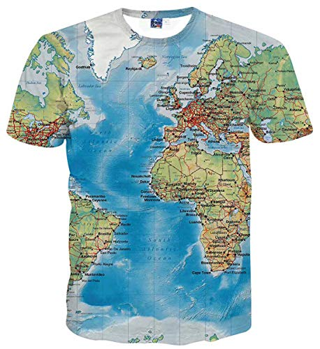 Sykooria Funny Mens Tshirt Cool 90S Map Graghic All Over Print T-Shirt Novelty 3D Print Tees for Boys ()