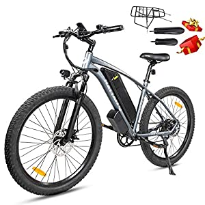 Rattan 500W/750W Electric Mountain Bike 26inch /27.5 inch Fat Tire Electric Bike for Adult 48V 13AH Removable Lithium-ion Battery Fat Tire Beach Snow Ebike Shimano 7-Speed Gear