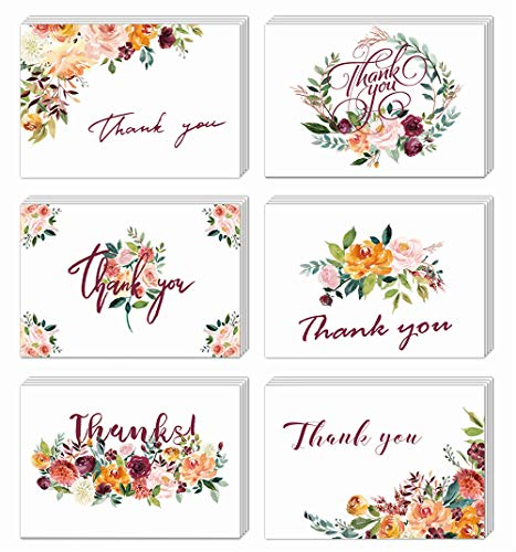 (Floral Thank You Cards, Elegant Flower Thank You Notes, Blank Inside, 4×6Inch 24Pack White Greeting Cards with Kraft Envelopes and Stickers for Wedding, Bridal Shower, Baby Shower,)