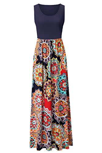 Zattcas Womens Summer Contrast Sleeveless Tank Top Floral Print Maxi Dress Navy Multi X-Large