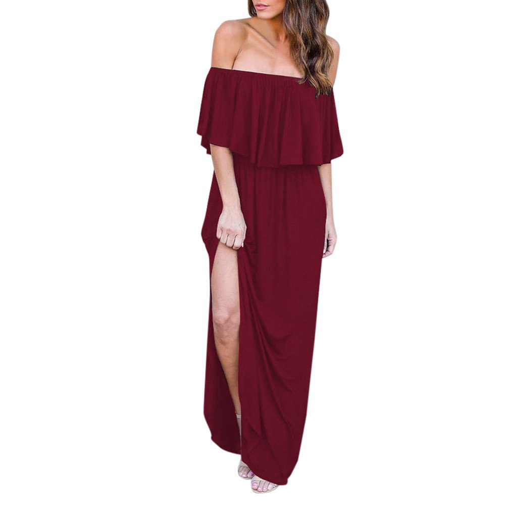 HAALIFE◕‿Womens Off The Shoulder Ruffle Party Dresses Maxi Casual Dress Wine by HAALIFE Women's Clothing