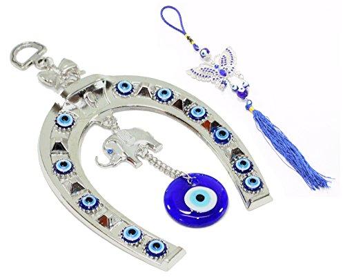 - Set of 2 ~ Turkish Blue Evil Eye Elephant Horse Shoe + Butterfly Amulet Blessing Protection Religious Charm Birthday Blessing Gift US Seller