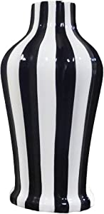TUSCAN COLLECTION CLASSIC STRIPED CERAMIC VASE,