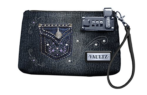 Vaultz 5.5 x 8 Inches Locking Wristlet, Jean (VZ00764)