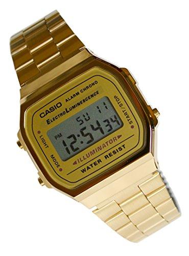 - CASIO A168WG Gents-Mens Digital Chronograph Gold Tone Metal Bracelet Watch