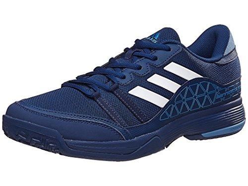 adidas Performance Men's Barricade Court Tennis Shoe, Mystery Blue/White/Tech Blue, 10.5 M US