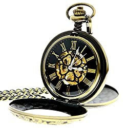 Mens Classic Retro Bronze Skeleton Roman Numerals Mechanical Hand Wind Pocket Watch With Chain