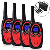 Befove Walkie Talkies, Rechargeable 22 Channel Two Way Radios Long Range Handheld Walkie Talky for Kids Adult, Red 4 Pack