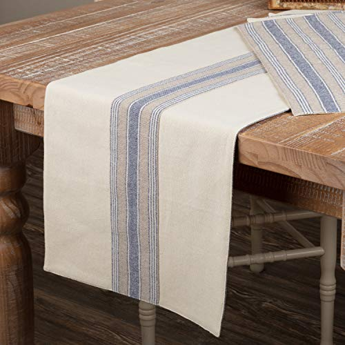 (Piper Classics Doylestown Blue Table Runner with Appliqued Grain Sack Stripe, 13