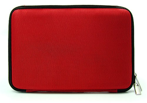 Red Slim Hard Nylon Cube Portfolio Cover Carrying Case For Barnes & Noble NOOK COLOR eBook Reader Tablet + Includes a eBigValue (TM) Determination Hand Strap + Includes a Crystal Clear HD Noise Filter Ear buds Earphones Headphones ( 3.5mm Jack )