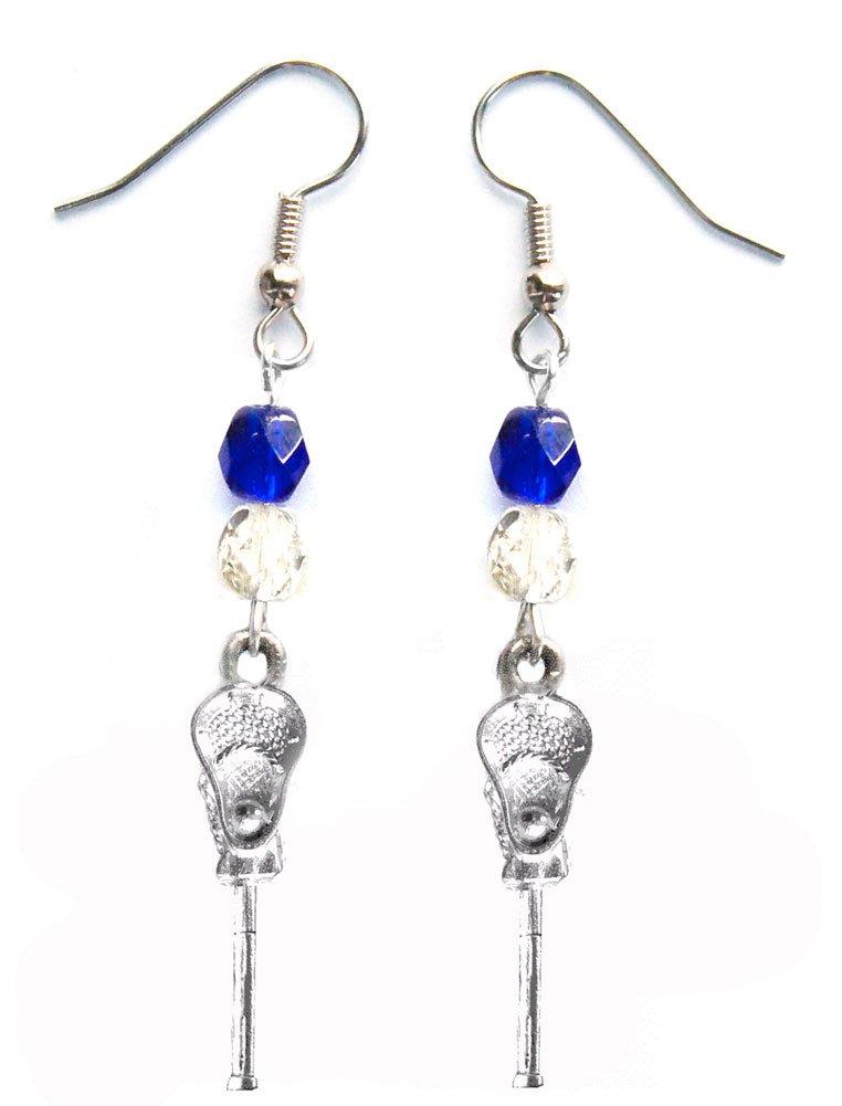 ''Lacrosse Stick & Ball'' Lacrosse Earrings (Team Colors Royal Blue & Silver)