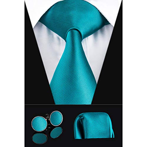 Dubulle Solid Mens Teal Necktie with Cufflinks Tie and Pocket Square
