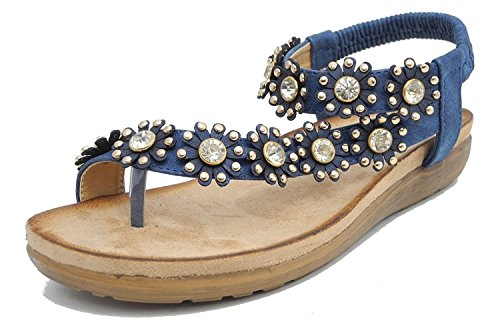 Women's Boulevard Lisa Toe Post Elasticated Sling Back Comfort Sandals Blue 51vtdL