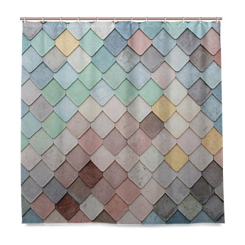 Mermaid Wall Shower Curtain Set, Waterproof Fabric Decorative Mildew Resistant Bath Curtain Sets for Bathroom72 x 72