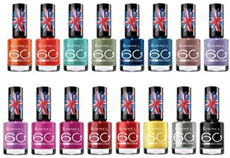15 Pack) Rimmel London 60 Seconds Finger Nail Polish Set 15-Piece Assorted Colors Collection by PayLessForRetail: Amazon.es: Belleza