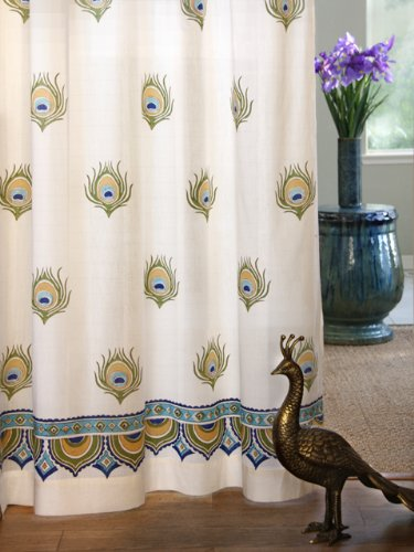 Dance O Peacock ~ Ivory Peacock Feather Print India Curtain Panel 46x84 by Saffron Marigold