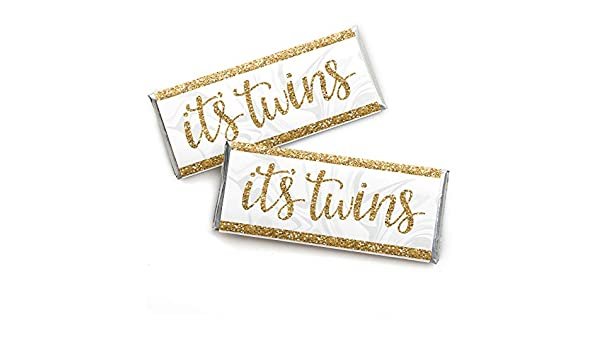 Its Twins – Candy Bar Wrapper Gold Twins Baby Shower Favors – Juego de 24: Amazon.es: Juguetes y juegos