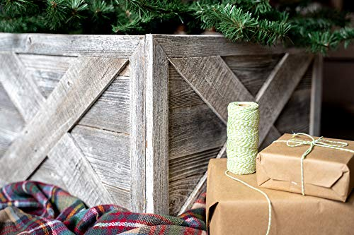BarnwoodUSA | Deluxe Wooden Tree Box Collar | White Wash | Farmhouse Tree Box | Christmas Tree Skirt | Rustic | Decorations | Vintage | 100% Reclaimed & Recycled Wood | 4 Sides (Tree White Deluxe Christmas)