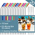 Stainless Steel Straws Set Of 16 10 5 Fda Approved Reusable Drinking Straws For 30oz 20oz Tumblers Cups Mugs Metal Straws With 24 Soft Food Grade Silicone Tips 4 Cleaning Brushes 16 Bent