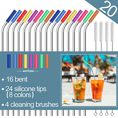 - Stainless Steel Straws,Set of 16 10.5