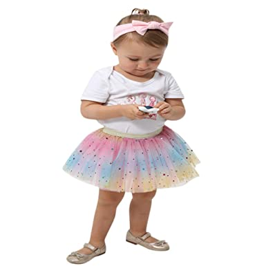 67f8ceb885b9 Amazon.com  Sushed Skirt Todder Kids Girl Petticoat Rainbow Princess ...