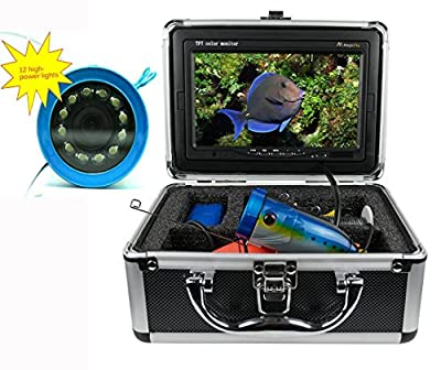 "Underwater Fishing Camera Video Fish Finder System Kit HD 1000TVL 7"" Monitor LCD IP68 15m Cable 4500mAh Rechargeable Battery Night Version for Ice,Lake,Boat,Ocean Fishing by Wosports"