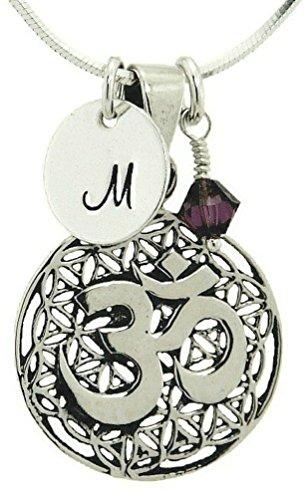 925 Sterling Silver Yoga, Aum, Om, Ohm Pendant Sterling Silver Initial Birthstone Crystal Custom Necklace (18)