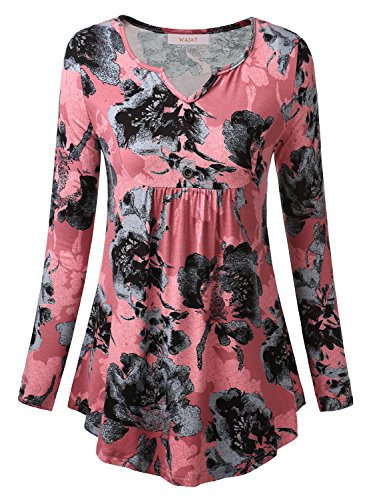 Wajat Womens Long Sleeve V Neck Front Pleated Flared Comfy Loose Tunic Top Pink Floral 2Xl
