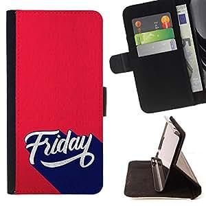 """For Sony Xperia M4 Aqua,S-type Viernes Inscripción estilo retro"""" - Dibujo PU billetera de cuero Funda Case Caso de la piel de la bolsa protectora"""