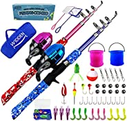 WIDDEN Kids Fishing Pole Full Kits Portable Telescopic Fishing Rod and Reel Combos, 2 Pack Blue and Pink