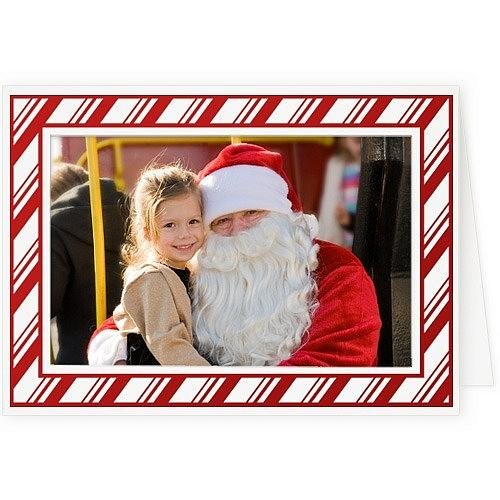 Christmas Cards Picture Insert (Embossed CANDY CANE premium photo insert Holiday Card sold in 10s -)