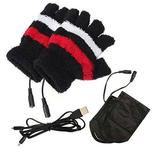 Soft Plush Winter USB Electric Gloves Fingerless Heating Heated Hand Warmer...