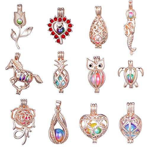 Women Children Happy Holiday Gifts12Pcs Rose Gold Pearl Bead Cages Pendant - Essential Oil Scent Diffuser Locket Cage Charms for DIY Bracelet Necklace Earrings Jewelry Making (12PCS) (Pendant Bead Rose)
