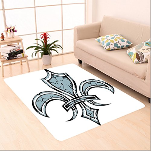 Nalahome Custom carpet s Decor Grungy Lily Retro Renaissance Spirit Element Victory Holy Artwork Print Blue White Black area rugs for Living Dining Room Bedroom Hallway Office Carpet (6' X 9') by Nalahome