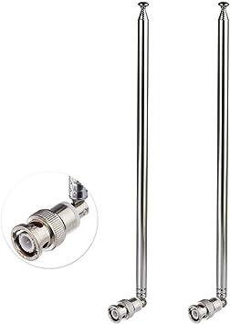 Bingfu Antena Macho BNC Telescópica HF VHF UHF 7 Secciones 115cm (2-Paquete) para Radio CB Radioaficionado Radio Bidireccional Escáner Móvil Receptor ...